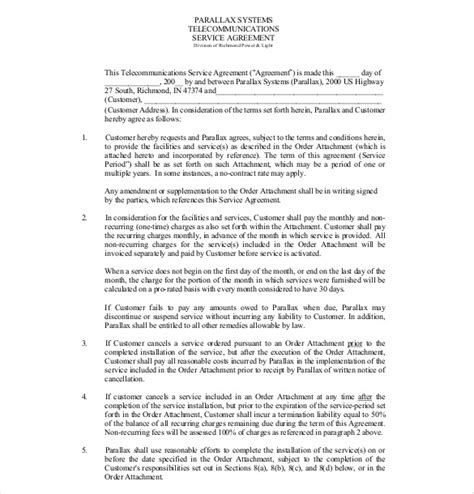 service agreement templates word