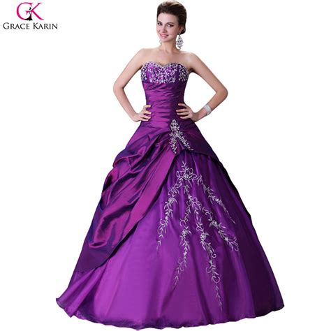 Grace Karin Voile Puffy Quinceanera Dresses Purple Long Masquerade Ball Gowns Cheap Party Dress