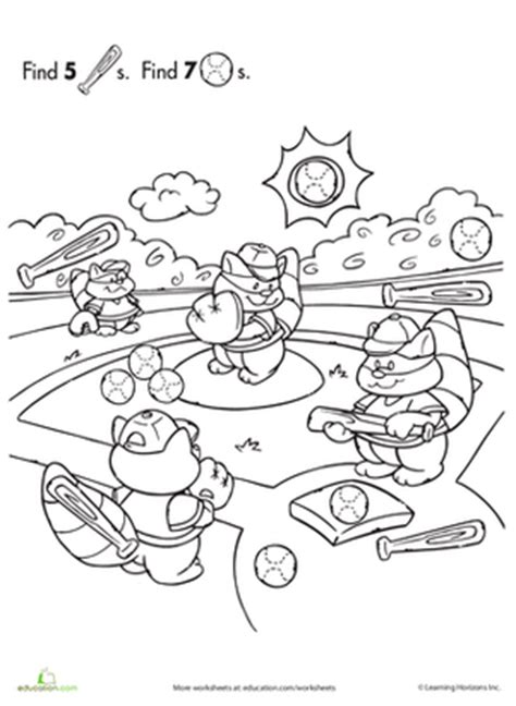 find the objects baseball worksheet education 676 | find hidden objects baseball counting