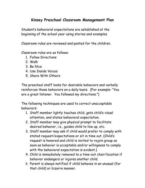 kinsey preschool classroom management plan