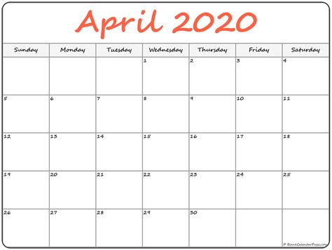 april blank calendar templates
