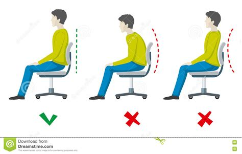 bonne position au bureau and right spine sitting posture vector office