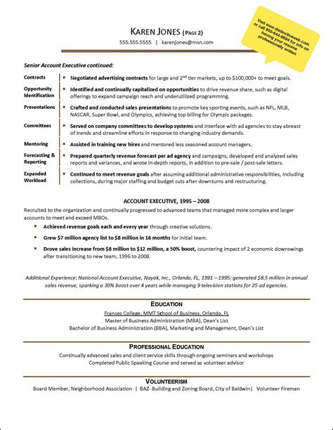 resume account manager advertising advertising agency exle resume