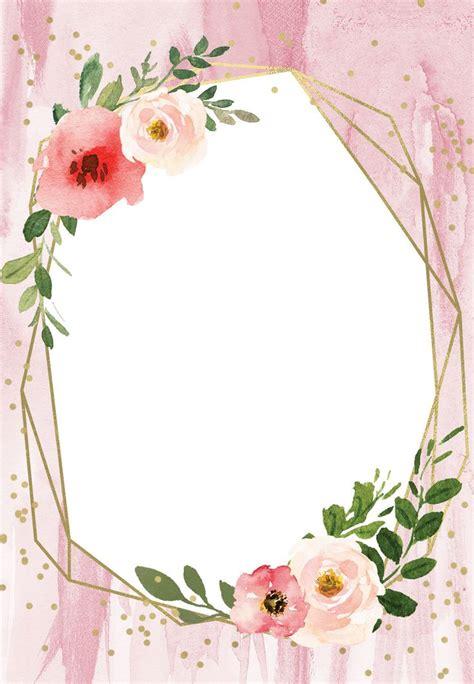 polygonal frame  blush flowers quinceanera invitation