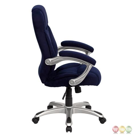 high back navy blue microfiber upholstered contemporary