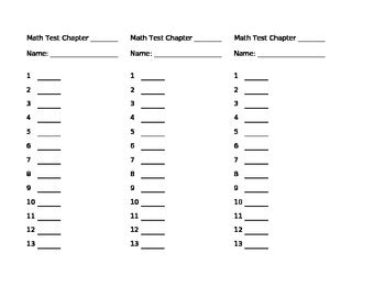 math blank answer sheets   grade  panther pride