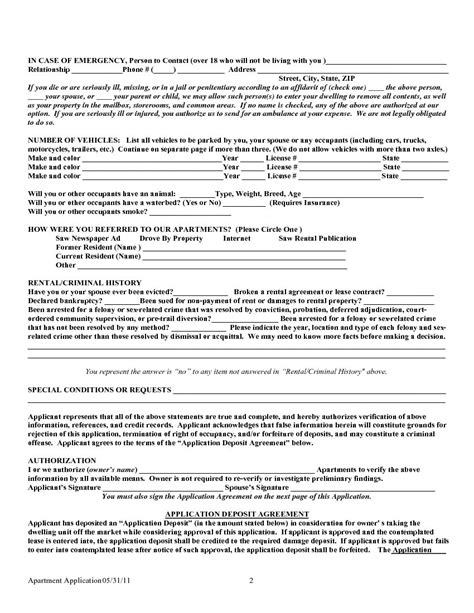 texas rental lease application form