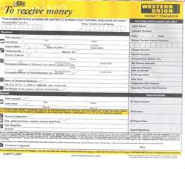 Receive Money Western Union Form images