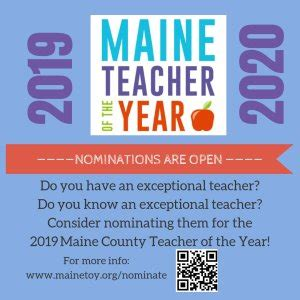 nominations open county state teacher year awards penbay