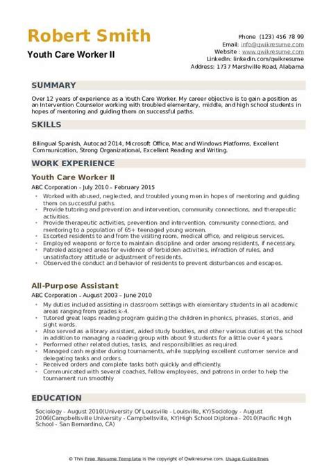 youth care worker resume sles qwikresume