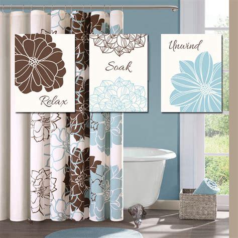 bathroom decor wall art canvas or prints blue brown by
