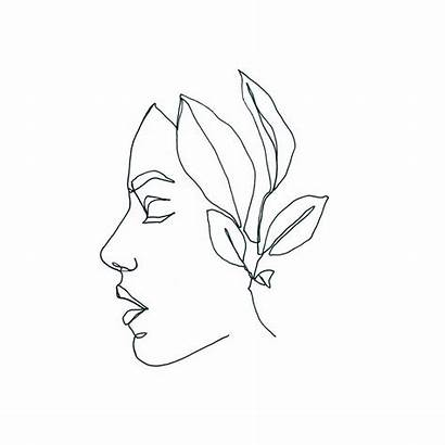 Drawing Line Face Simple Drawings Plant Portrait