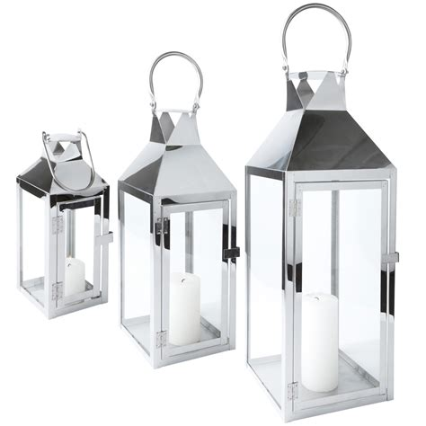 laterne le innen laterne edelstahl glas mit t 252 r metall windlicht gartenlaterne kerzenhalter ebay