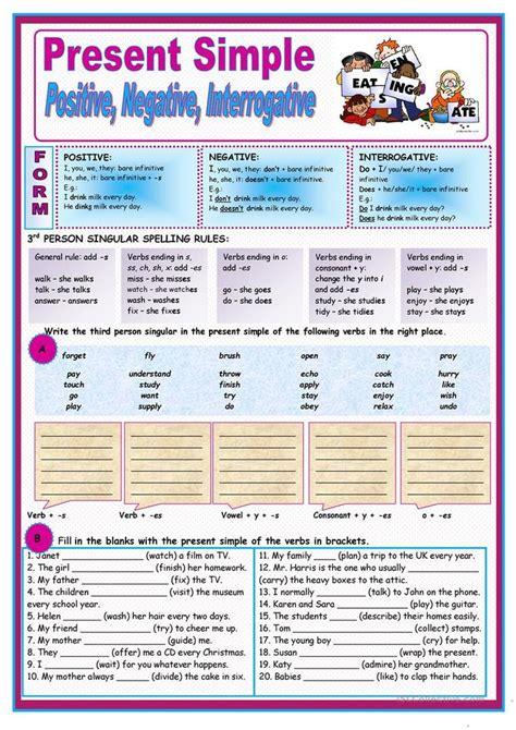 present simple english esl worksheets spelling rules