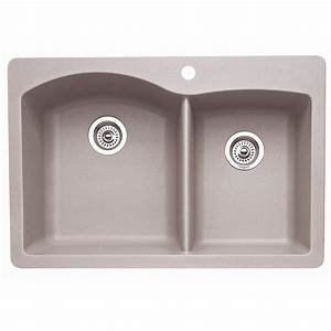 Shop blanco diamond double basin drop in or undermount for Undermount kitchen sinks lowes