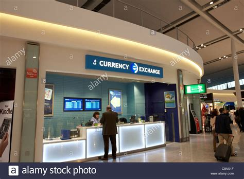 currency exchange desk in the departures area of terminal 2 dublin stock photo royalty free