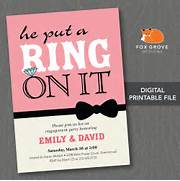 Printable He Put A Ring On It Engagement Party By FoxGroveDesigns Personalised Engagement Party Invitation By Molly Moo Designs Engagement Party Invitation Cards In Packs Of 6 Party Wizard Romantic Fingerprint Rustic Engagement Party Invitation Cards EWEI013