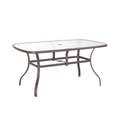 home depot garden table hton bay navona 38 in x 60 in rectangular glass top