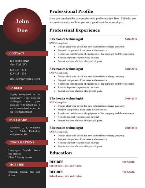 Free Cv Templates To Use by Curriculum Vitae Resume Templates 386 To 391 Get A Free Cv