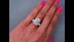 279 ctw emerald cut engagement ring and wedding band set With emerald cut engagement ring with wedding band