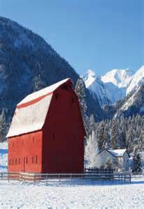 Winter Red Barn in Snow