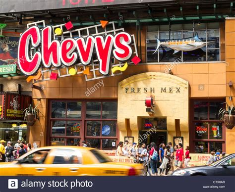 chevys mexican restaurant times square area nyc stock