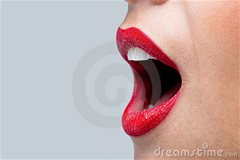 womans mouth wide open  red lipstick royalty