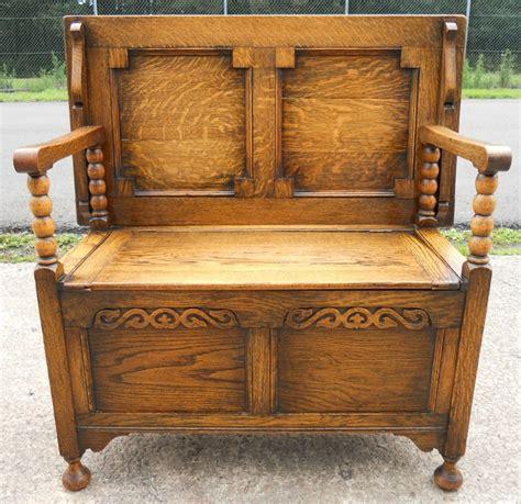 Golden Oak Panelled Monks Bench  239035 Sellingantiques