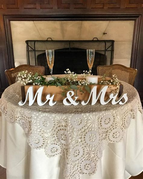 Mr and Mrs wedding signs table decoration Rustic wedding