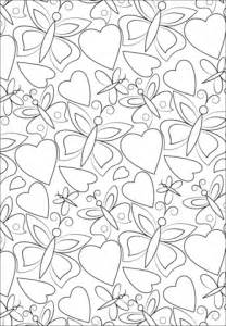 hearts  butterflies pattern coloring page