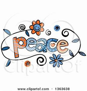 Clipart of Colorful Sketched Peace Word Art - Royalty Free ...