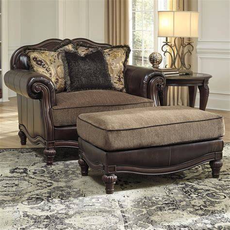 Ottoman Furniture by Traditional Chair And A Half Ottoman By Signature Design