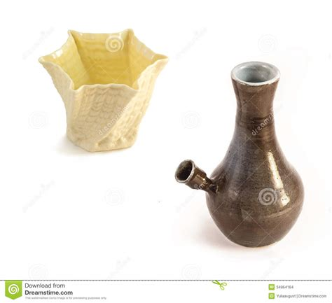 Ceramic Water Pipe Bong And White Vase Stock Images