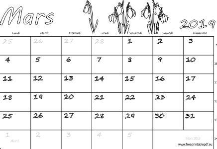 calendrier mensuel imprimer mars gratuit imprimable