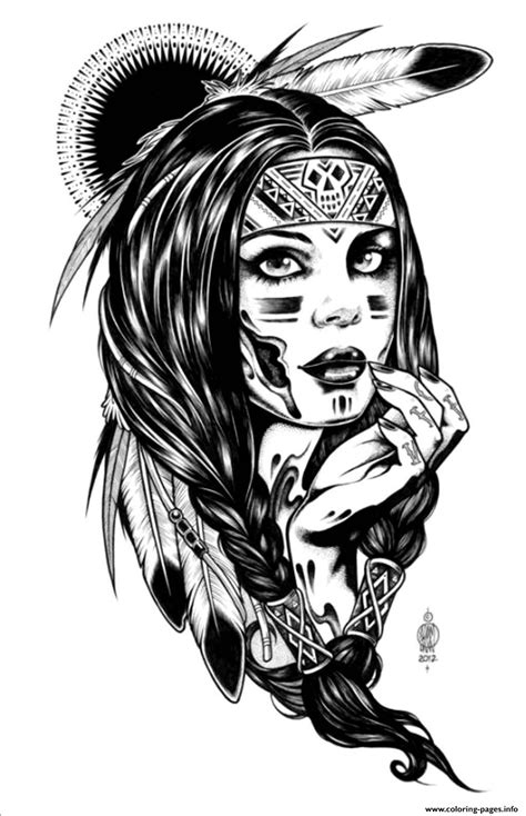 Print adult native indian american woman coloring pages   Native american drawing, Native