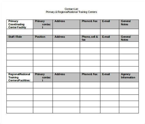 contanct detailes template contact list template 19 free sle exle format