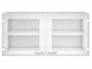 meuble haut cuisine 2 portes vitrees casa coloris blanc With meuble salle de bain vitrée