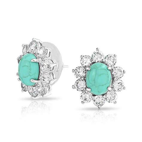 cz crown oval turquoise stud earrings