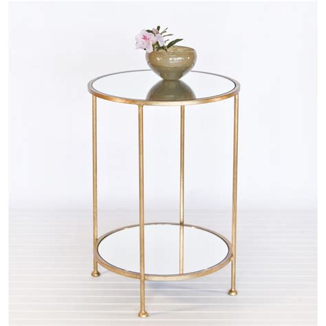 small glass side table bronze polished wrought iron based frame bedside table