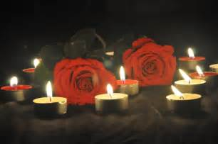 Romantic Red Roses and Candles