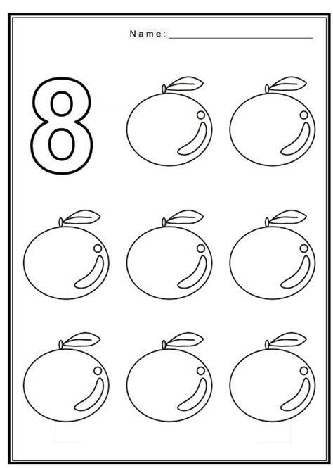 number worksheet crafts and worksheets for preschool 824 | Free coloring pages of number 8 with fruit