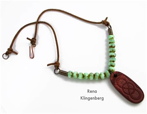 ring pendant chain necklace rustic leather bead necklace tutorial jewelry