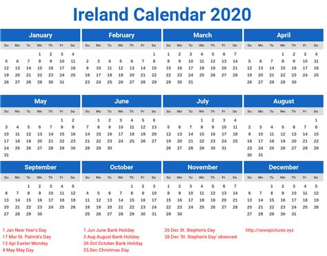 ireland  calendar printcalendarxyz