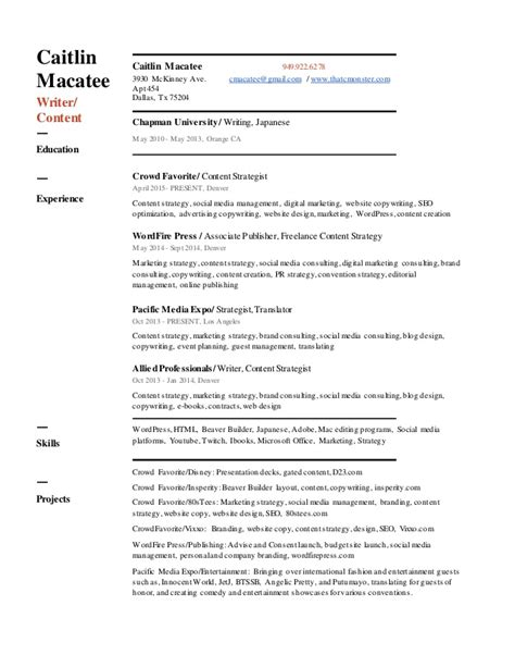 View Resume Sles Free by Content Writer Resume Sles 28 Images Professional