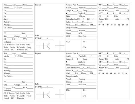 nursing report sheets nurses templates nurse report