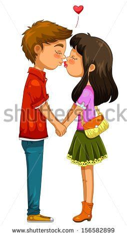 young girl kissing  man clipart clipground