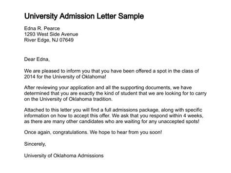 letter  admission