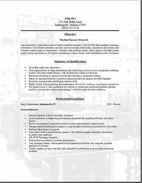 machine operator resume occupational exles sles