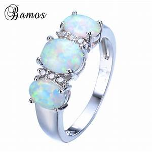 Bamos New Sale Unique Round Fire Opal Ring White Gold ...