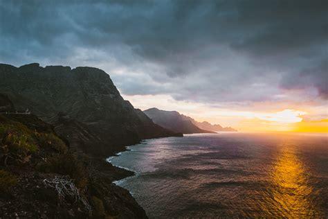 mountain  sea  sunset  image peakpx